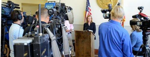 Prosecutor Katherine Flaherty spoke to news media.  Photo Weatherston