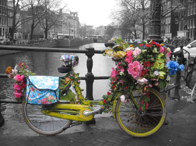 Colorful bike in Amsterdam.