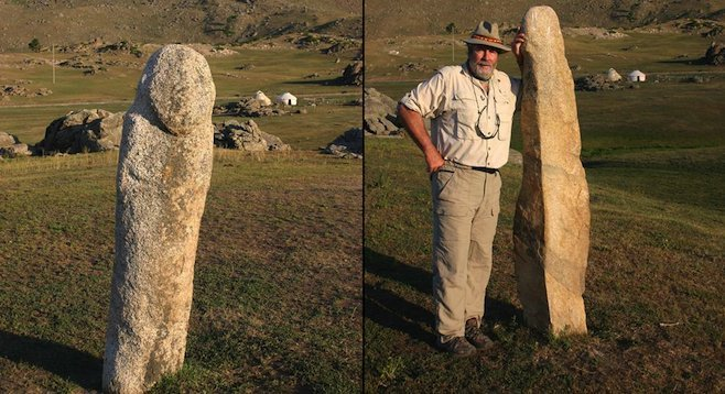 In the Kanas region, stone monoliths on the steppe date back to Genghis Khan. (Left: carving of a standing man, right: the author with another discovery.)