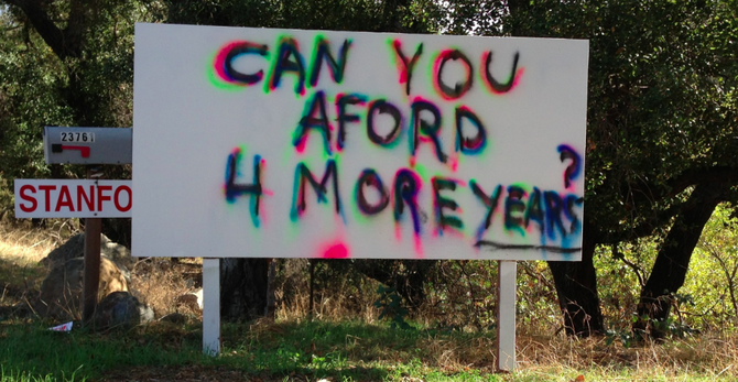 Roadside sign in Ramona, November 8, two days after the elections