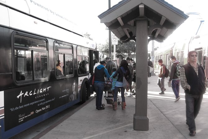 The bus stop at the Old Town transit station
