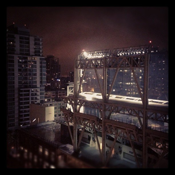 Rainy night over Petco Park