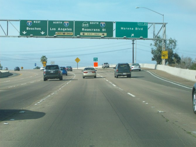 Freeway choices along Interstate 8 West in Mission Valley.