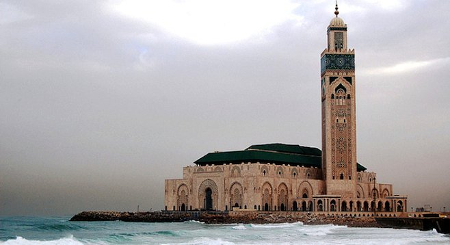 Casablanca's impressive Hassan II Mosque sits on a promontory that juts out into the Atlantic.