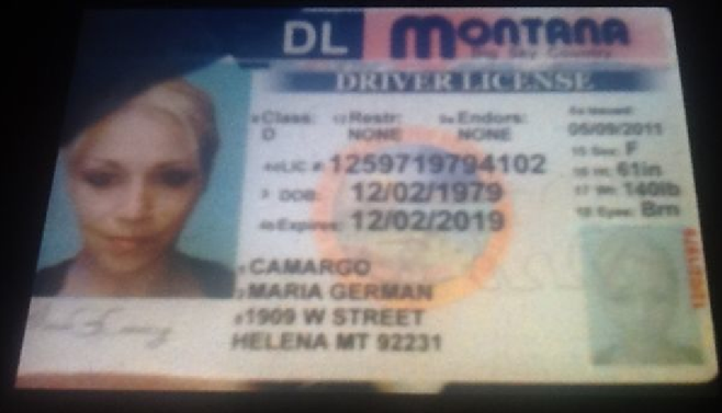 Phony license photographed by buyer who was ripped off