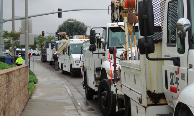 SDG&E repair trucks in Carlsbad on November 30