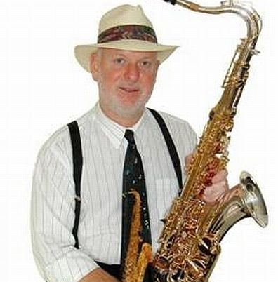 One half of the Forecast jazz duo: Sax player and flutist Greg Pardue