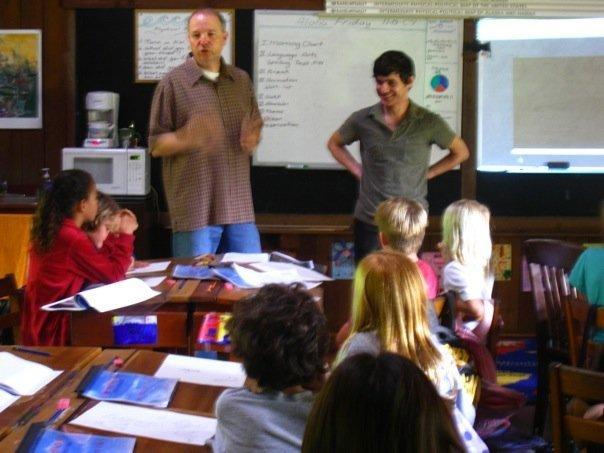 Dan Bennett (L) teaching film and animation in Kauai with Andrew Marshel from DreamWorks.