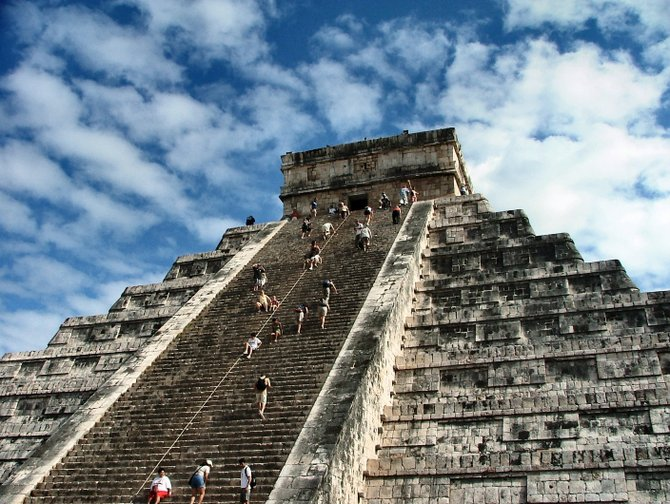 It's a long climb to the top of the main pyramid at Chichen Itza, and the steps are steep and narrow.