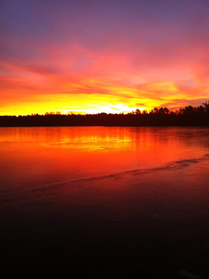Fire and ice: sunrise on frozen Lake Kimball in Minong, WI. (12/5/12)