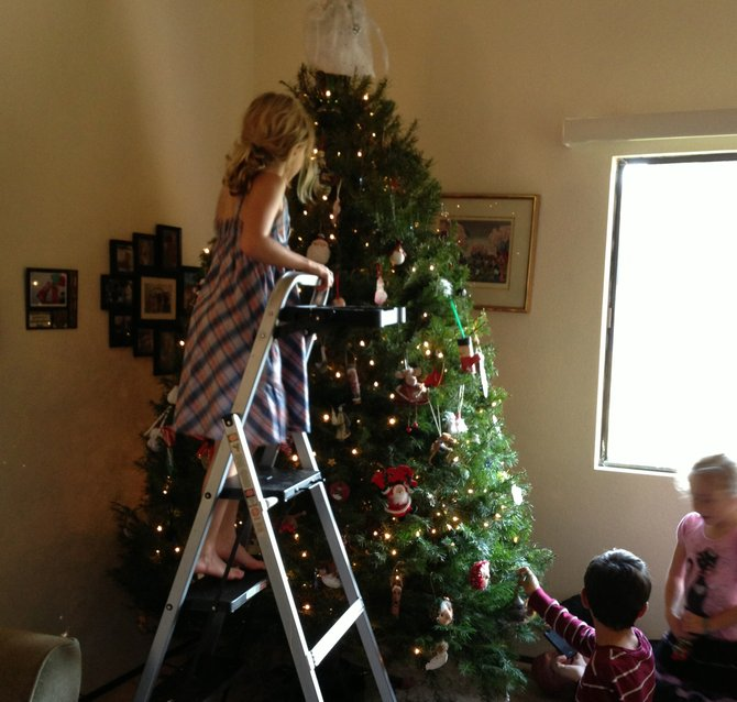 The kids descend upon the tree