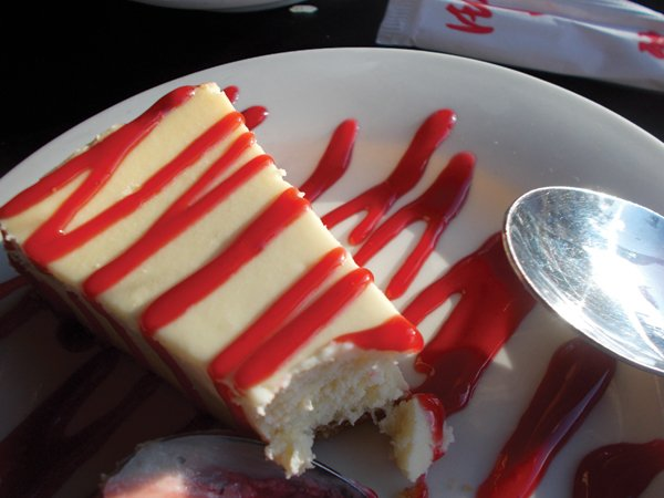 Neighbor's cheesecake: we're having this next time!