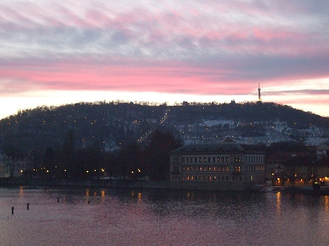 Prague's Petřín Hill, ethereal in the sunset.