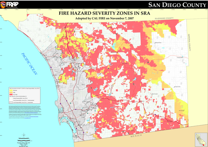 "A CalFire ""state responsibility area"" (SRA) map of San Diego hot spots"