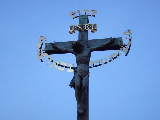 Cross adorning Charles Bridge.