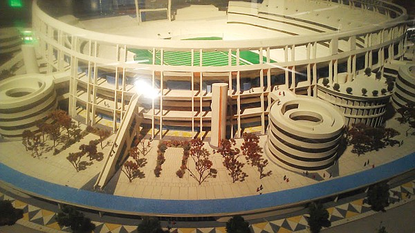 This architectural model of Qualcomm Stadium is one of the exhibits at the hall of Champions.