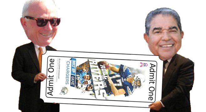 Before vacating the mayor's office, Jerry Sanders gave Chargers tickets to fellow retired pol Rudy Castruita.