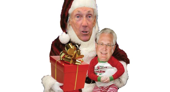 Bad luck Santa. Buzz Woolley played St. Nick to council candidate Ray Ellis and a few others. They all lost