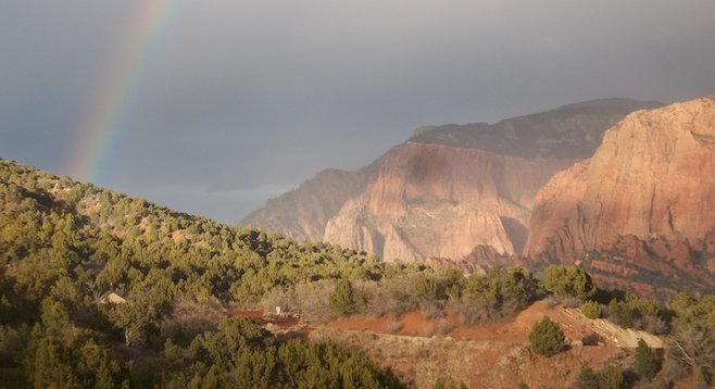 A rainbow at trail's end: Timber Creek Overlook Trail in the Kolob Canyons area of the park.