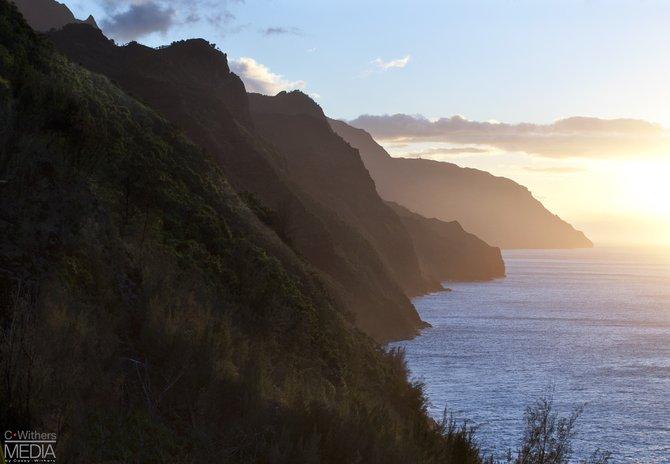 Na Pali Coast in Kauai Hawaii at sunset in November.