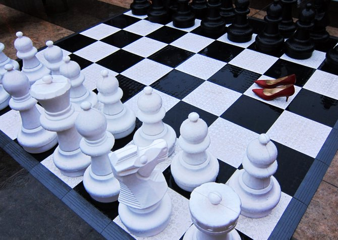 Chess anyone?  The jumbo chess board at the Mission Valley mall.