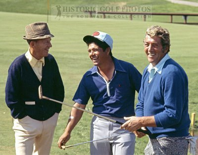Mexican-American golfing legend Lee Trevino (center) with Bing Crosby and Dean Martin.