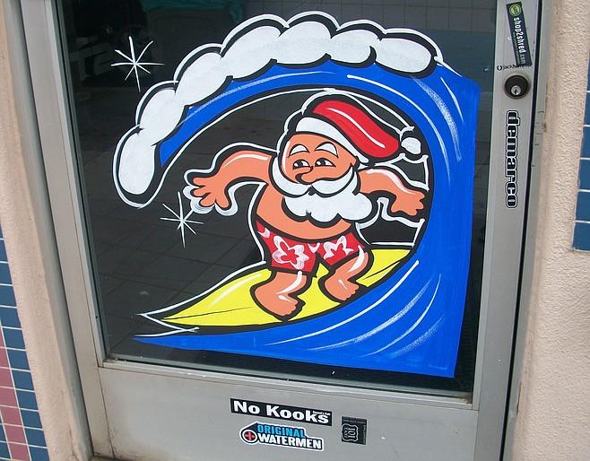 Surfin' Santa's in the barrel at Juanita's Taco Shop in Leucadia