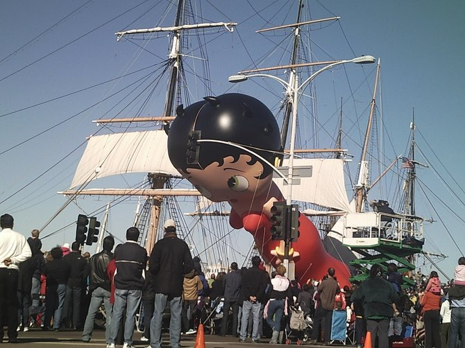 Betty Boop had a little trouble navigating a stoplight in front of the Star of India in 2010