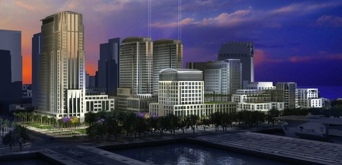U-T San Diego owner Douglas Manchester has reportedly lobbied for a new city hall as part of his Navy Broadway development.
