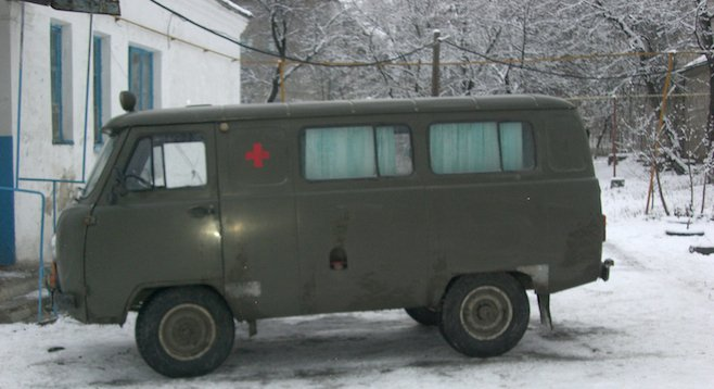 Ukraine: what looks to be an ambulance van left over from World War II.