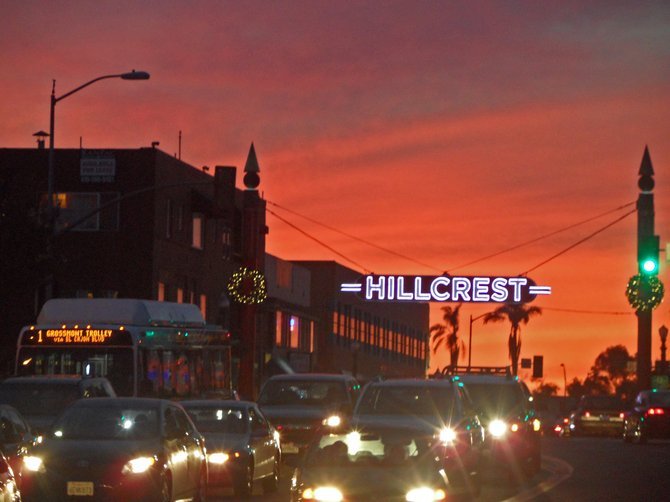 Hillcrest and winter sunset.