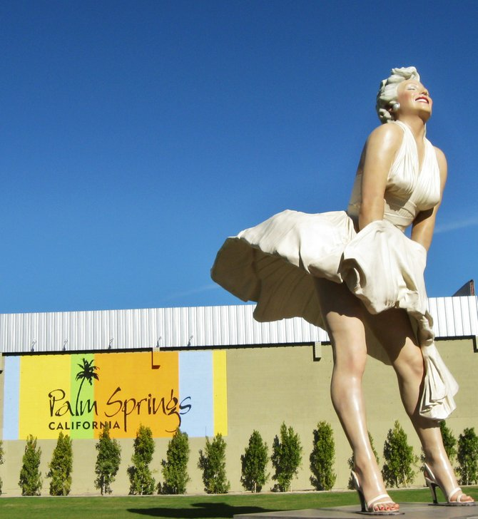 Why we love Palm Springs, CA. so much!   The new statute of Marilyn Monroe was transported from Pioneer Court May 8, 2012 in Chicago, Illinois.  It weighs 34,300 lbls and it's height is 26 feet. I ugre you to bring a high San Disk for all those wonderful photos you will be taking of her!  Vilma Ruiz Pacrem
