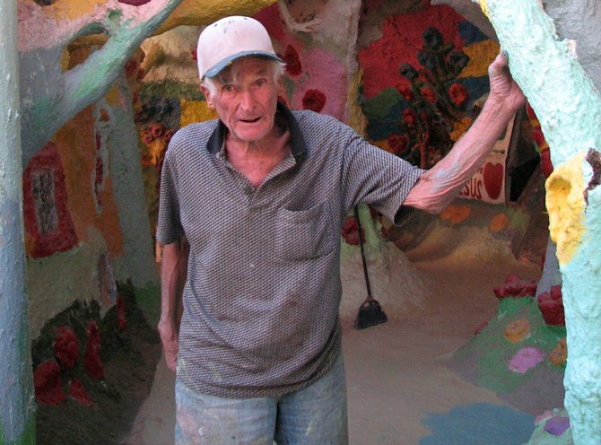 Knight, pictured outside his creation.