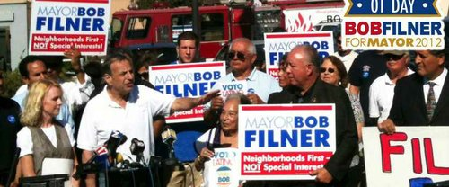 San Diego mayor Bob Filner on the campaign trail