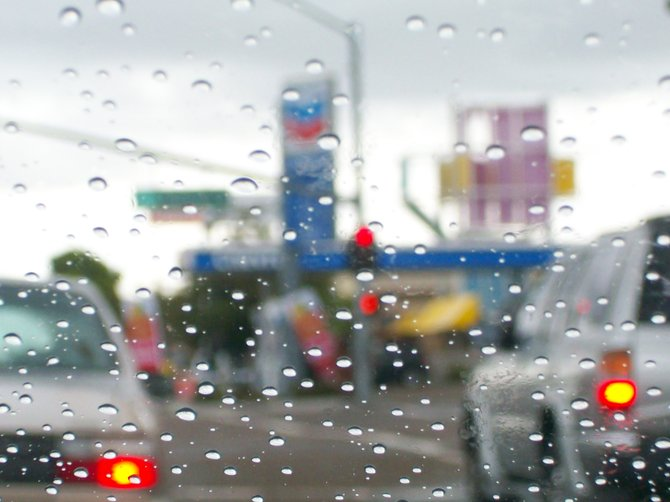 A rainy winter's day through a Chevy windshield near Walgreen's.