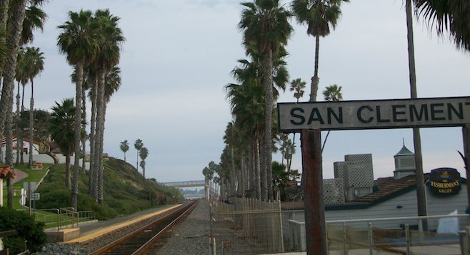 "San Clemente's train ""station"" deposits you right in front of the pier."
