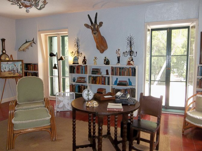 Papa Hemingway wrote a few books here in his study at the Hemingway House. Key West, Florida