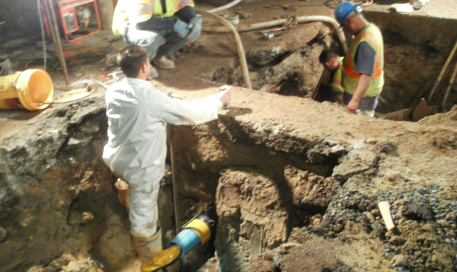 Crews were still working to repair the main at 8:30 p.m.