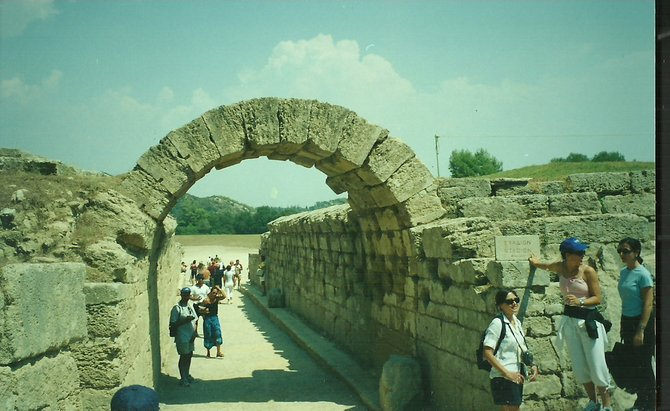 The entrance to the ancient Olympic field in Olympia, Greece.
