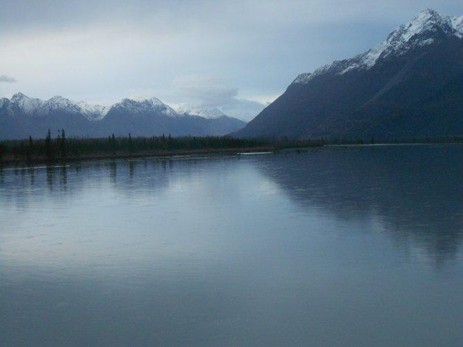 View of coastal Alaska from the Seward Highway.