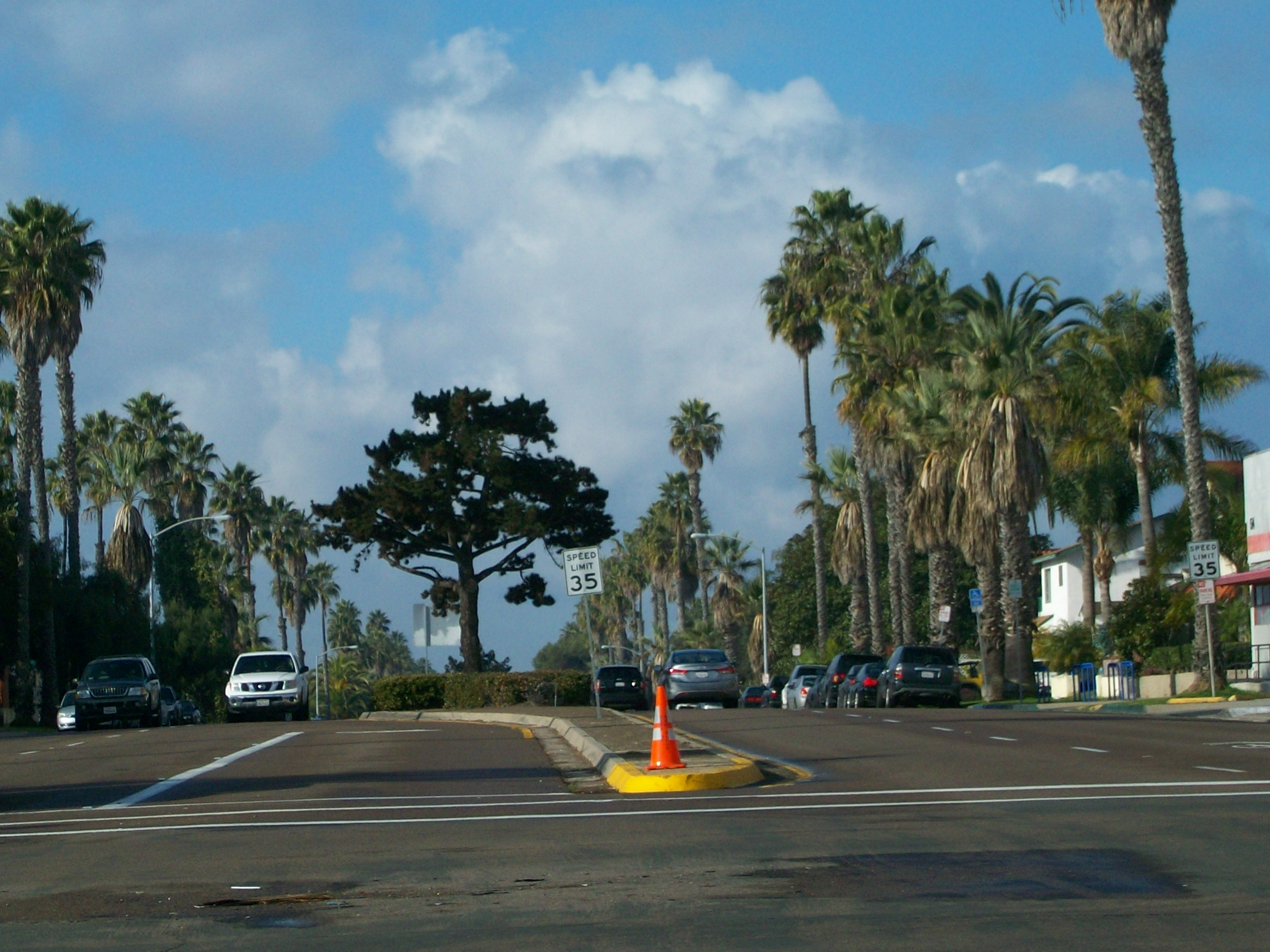Looking west on Garnet Ave. in Pacific Beach on a winter day.