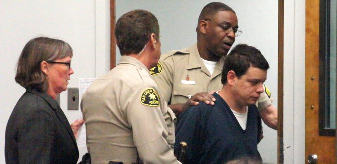 Christopher Bradley Nutt brought into a San Diego courtroom.  Photo Weatherston.