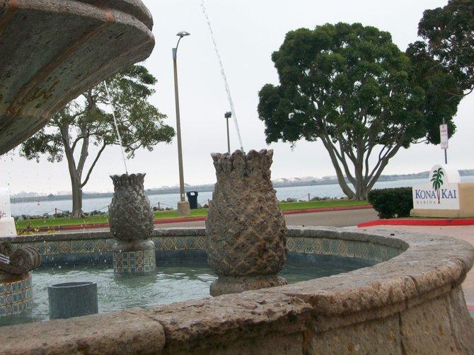 Kona Kai Resort fountain on Shelter Island.