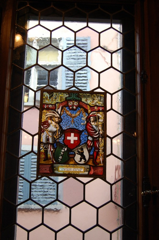 Stained glass inside the blacksmiths' guildhall.