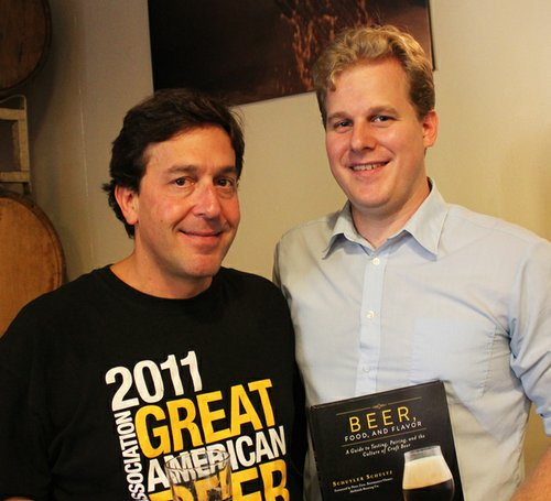 Schultz shares a shot with AleSmith owner and brewmaster Peter Zien, who contributed the book's foreword as well as the recipe for his imperial stout.