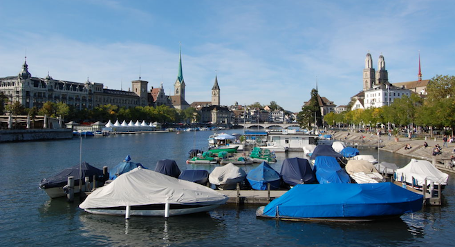 Boats on the River Limmat, Zurich.