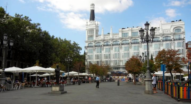 Affordable lodging on Madrid's Plaza de Santa Ana is possible with hospitality sharing sites like AirBnb.