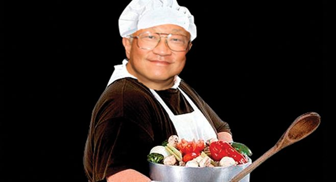 Big pots full of veggies make Chef Mark Sun smile.