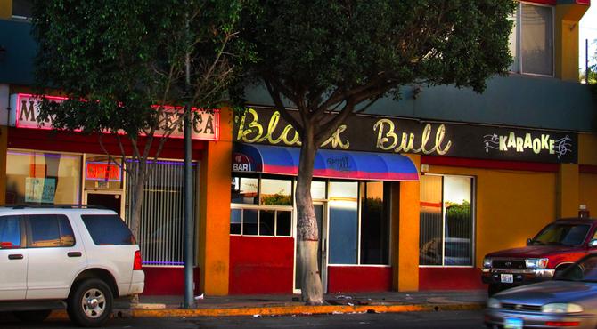 Outside the Black Bull bar