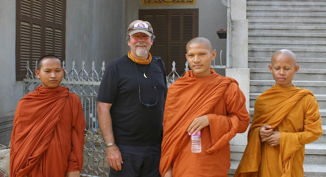 The author with a group of Buddhist novice monks.